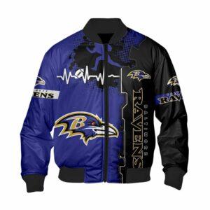 Baltimore Ravens Bomber jacket graphic heart ECG line