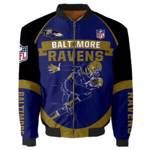 Baltimore Ravens Bomber Jacket Graphic Running men gift for fans
