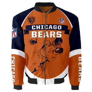Chicago Bears Bomber Jacket Graphic Running men gift for fans