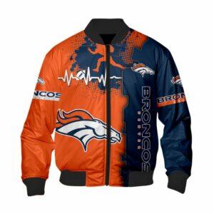 Denver Broncos Bomber Jacket graphic heart ECG line