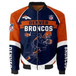 Denver Broncos Bomber Jacket Graphic Running men gift for fans