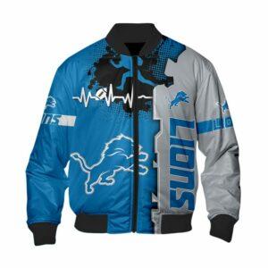 Detroit Lions Bomber Jacket graphic heart ECG line