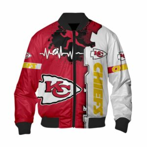 Kansas City Chiefs Bomber Jacket graphic heart ECG line