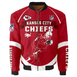 Kansas City Chiefs Bomber Jacket Graphic Running men gift for fans