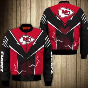 Kansas City Chiefs bomber Jacket lightning graphic gift for men