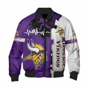 Minnesota Vikings Bomber Jacket graphic heart ECG line