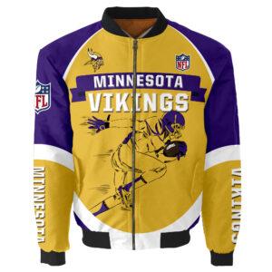 Minnesota Vikings Bomber Jacket Graphic Running men gift for fans