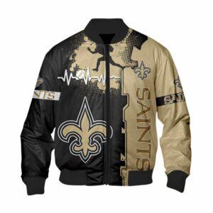 New Orleans Saints Bomber Jacket graphic heart ECG line