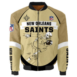 New Orleans Saints Bomber Jacket Graphic Running men gift for fans
