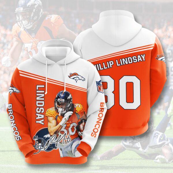 nfl denver broncos phillip lindsay 3d hoodie custom printing team color plus