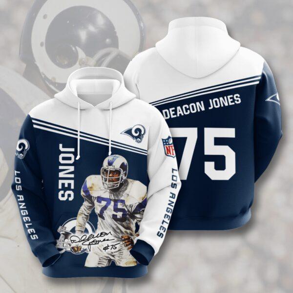 nfl los angeles rams deacon jones 3d hoodie custom printing team color plus