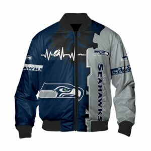 Seattle Seahawks Bomber Jacket graphic heart ECG line