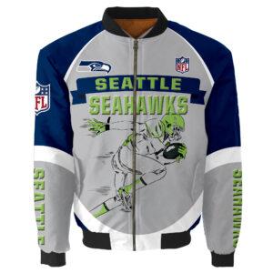 Seattle Seahawks Bomber Jacket Graphic Running men gift for fans