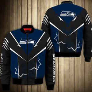 Seattle Seahawks bomber Jacket lightning graphic gift for men