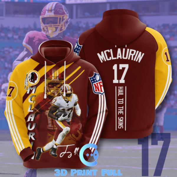 terry mclaurin washington redskins nfl 3d hoodie terry mclaurin custom 3d